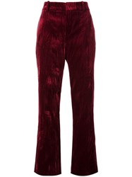 Lanvin Creased Straight Fit Trousers Red