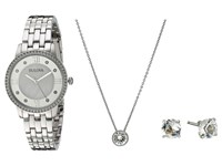 Bulova Crystal 96X138 Box Set Stainless Steel Watches Silver