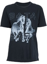 Baja East Horse Print T Shirt Black