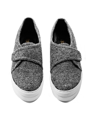 Pixie Market Grey Wool Platform Sneakers