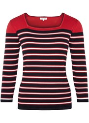 Austin Reed Colour Block Stripe Top Red