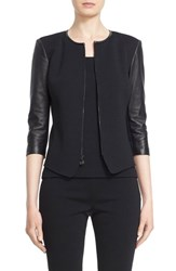 St. John Women's Collection Leather Trim Milano Knit Jacket Caviar