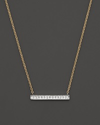 Dana Rebecca Designs 14K White And Yellow Gold Sylvie Rose Medium Bar Necklace With Diamonds White Gold