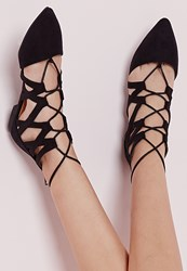 Missguided Strappy Lace Up Flat Shoes Black Black