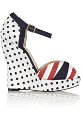 Oscar De La Renta Elise Canvas Wedge Sandals White