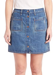 Rag And Bone Mini Santa Cruz Button Front Skirt Blue Denim