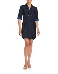 Calvin Klein Belted Lace Up Shirt Dress Black Royal
