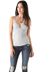 Blue Life V Neck Tank Heather Grey