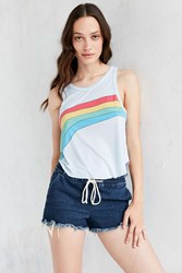 Truly Madly Deeply Rainbow Stripe Swing Tank Blue Multi