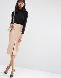 Asos Pu Pencil Skirt With Pockets And Front Split Nude Beige
