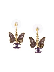 Chanel Vintage Cc Logo Butterfly Earrings Pink And Purple