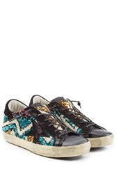 Golden Goose Super Star Leather And Sequin Sneakers Multicolor