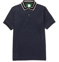Paul Smith Slim Fit Stripe Trimmed Cotton Polo Shirt Blue