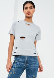 Missguided Petite Grey Ripped Boyfriend T Shirt