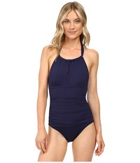 Tommy Bahama Pearl Solids High Neck Halter One Piece Mare Navy Women's Swimsuits One Piece