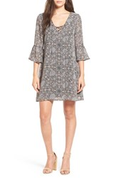 Speechless Women's Print Bell Sleeve Lace Up Shift Dress