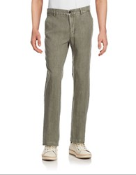 Black Brown Straight Leg Linen Pants Dusty Olive