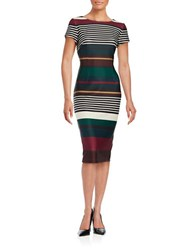 Gabby Skye Striped Bodycon Dress Berry Hunter