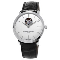 Frederique Constant Fc 312S4s6 Men's Slimline Skeleton Leather Strap Watch Black White