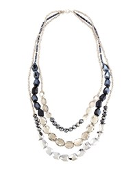 Lydell Nyc Silvertone Layered Triple Strand Gray Crystal Necklace Women's