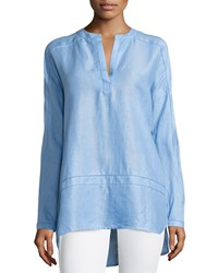 Neiman Marcus Linen Crochet Trim High Low Tunic Della Robbia Blue