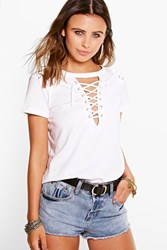 Boohoo Demi Lace Up Neck Shoulder Tee White