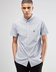 Selected Homme Short Sleeve Oxford Shirt Navy White Striped