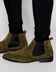 Base London Suede Chelsea Boots Green