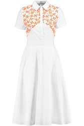 Tanya Taylor Mia Embroidered Cotton Blend Dress White