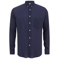 Ami Alexandre Mattiussi Ami Men's Summer Fit Long Sleeve Shirt Navy Blue