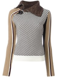 Carven Zipped Neck Striped Jumper Brown