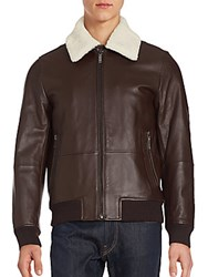 Michael Kors Fur Trimmed Leather Bomber Jacket Chocolate