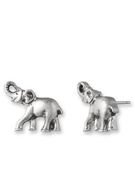 Lonna And Lilly Silvertone Elephant Stud Earrings
