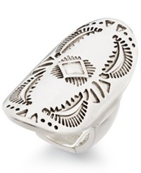 Macy's Silver Tone Large Oval Etched Stretch Ring