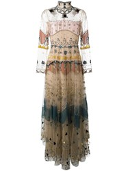 Valentino Embellished Tulle Gown Nude Neutrals