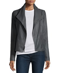 Vince Lined Leather Scuba Jacket Iron Women's