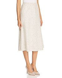 Lafayette 148 New York Flared Wool Midi Skirt Ecru Multi