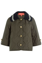 Hilfiger Collection Cropped Jacket With Knit Collar Green