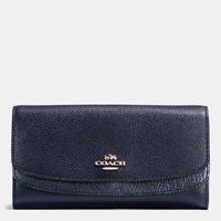 Coach Double Flap Wallet In Colorblock Leather Silver Navy Navy Metallic