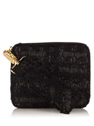 Simone Rocha Twist Clasp Tweed Clutch Black