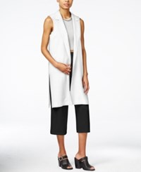 Bar Iii Open Front Long Collared Vest Only At Macy's Washed White