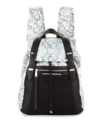 French Connection Indy Marble Print Nylon Backpack Marble Black
