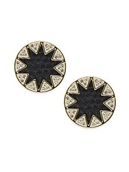 House Of Harlow Leather Round Stud Earrings Black