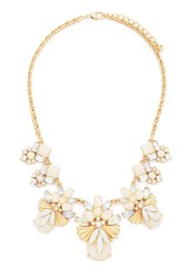 Forever 21 Faux Gemstone Statement Necklace Gold Multi