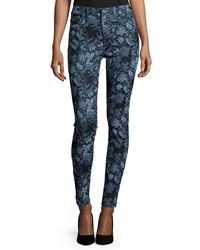 7 For All Mankind The High Waist Skinny Jeans Blue Floral
