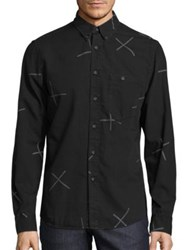 Nudie Jeans Cross Print Button Down Shirt Black