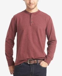 G.H. Bass And Co. Men's Long Sleeve Henley Chocolate Truffle