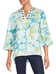 August Silk Floral Print Linen And Cotton Tunic Tropical