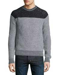 Neiman Marcus Colorblock Reverse Raglan Sweater Gray