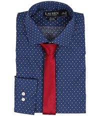 Lauren Ralph Lauren Slim Estate Collar Navy Cream Dot Men's Long Sleeve Button Up Blue